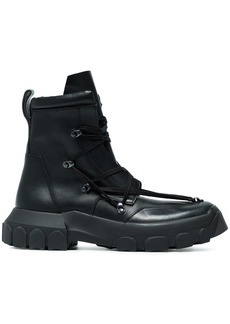 Rick Owens Black Hike Leather Lace Up Boots