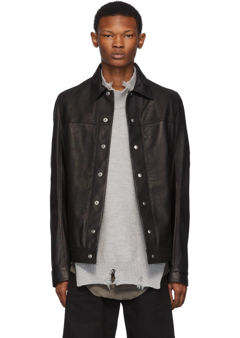 Rick Owens Black Leather Worker Jacket