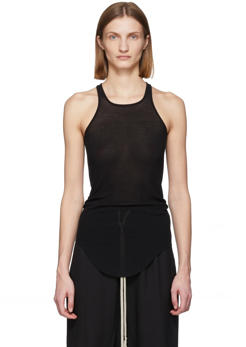 Rick Owens Black Silk Rib Tank Top