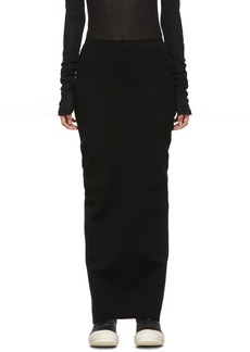 Rick Owens Black Viscose Jersey Long Skirt