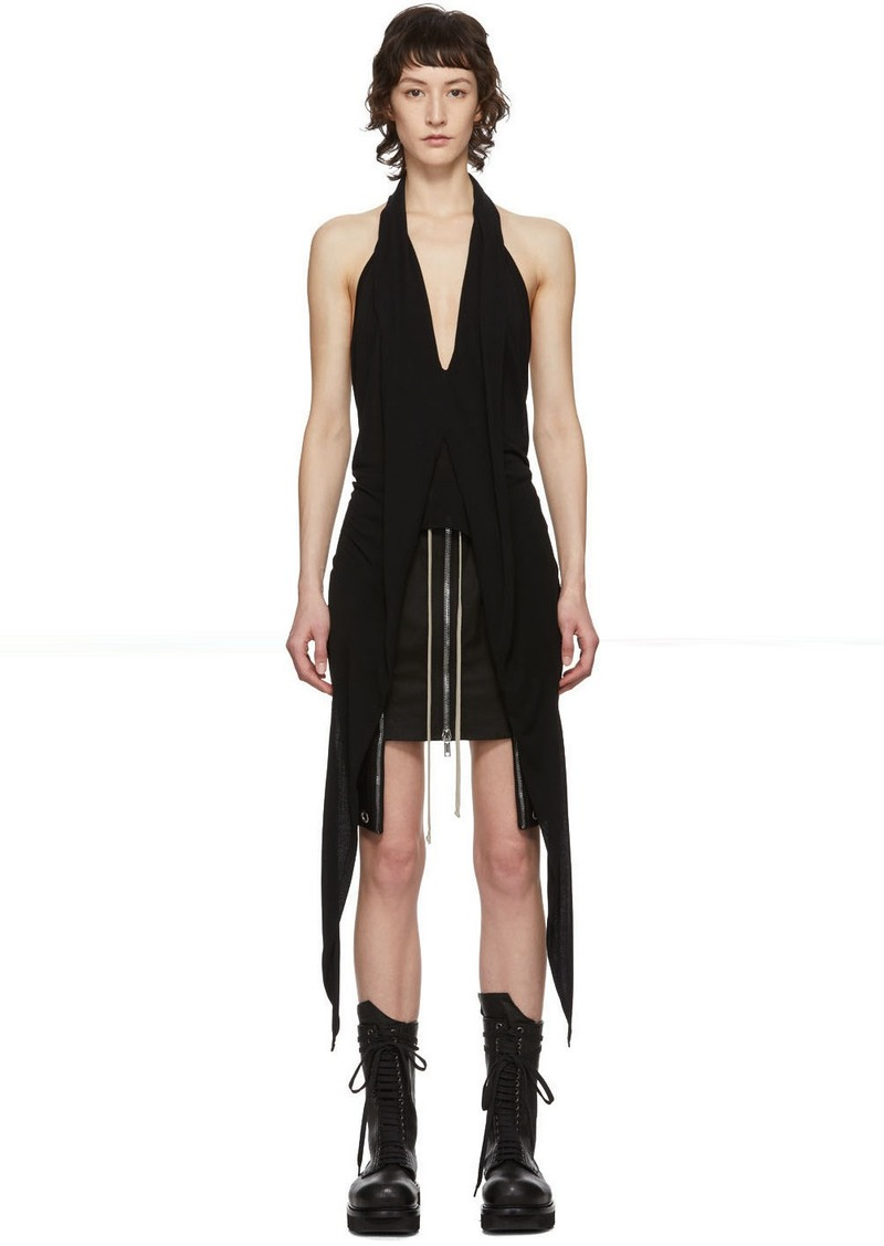 Rick Owens Black Wishbone Halter Tank Top