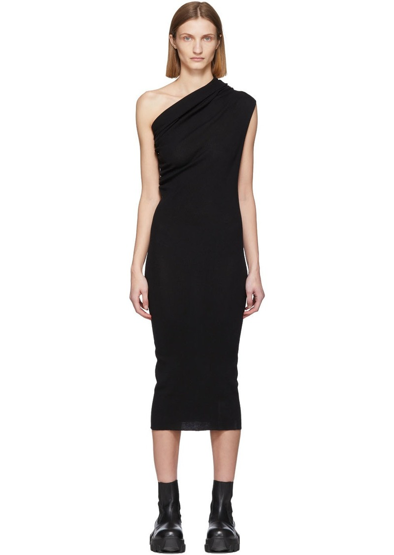 Rick Owens Black Wool One Shoulder Dress