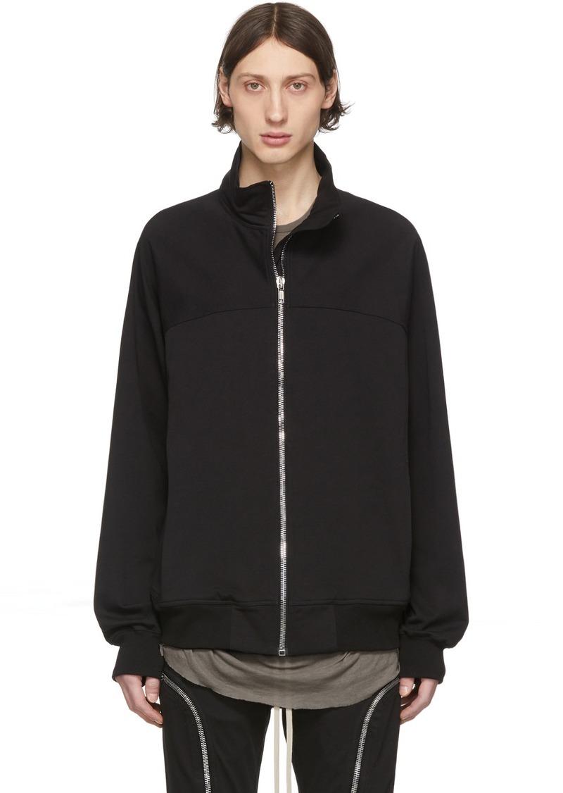 Rick Owens Black Zipfront Jogger Sweater