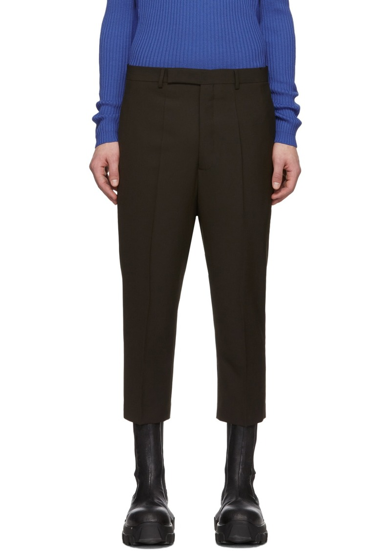 Rick Owens Brown Wool Astaires Cropped Trousers