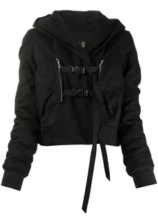 Rick Owens buckled hooded jacket