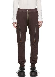 Rick Owens Burgundy Jog Cargo Pants
