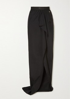Rick Owens Champion Ruffled Embroidered Shell Maxi Skirt