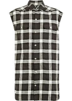 Rick Owens check sleeveless shirt