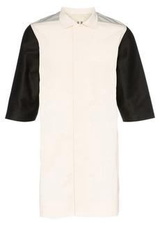 Rick Owens colour-block metallic-back cotton shirt