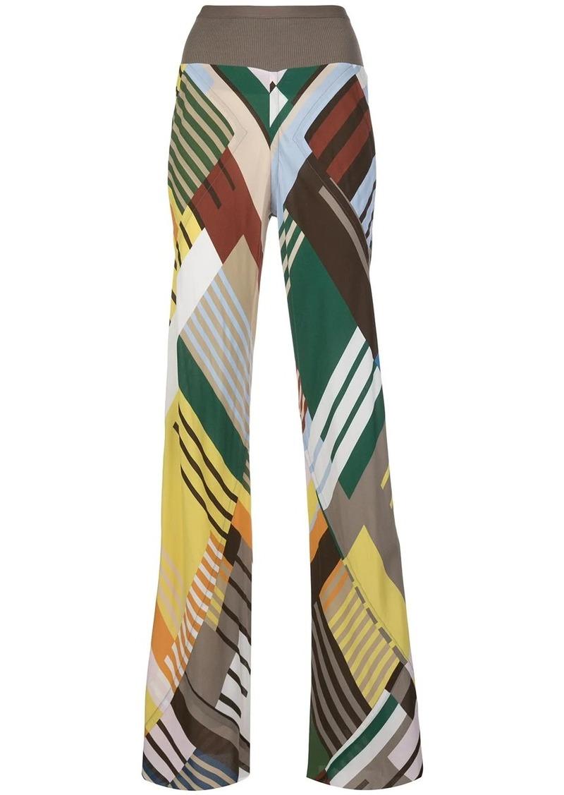 Rick Owens colour block wide leg trousers