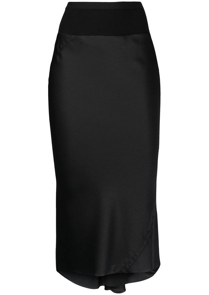 Rick Owens contrast-panel satin pencil skirt
