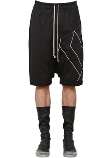 Rick Owens Cotton Canvas Shorts W/ Embroidery