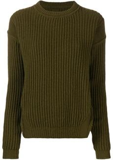 Rick Owens crew neck rib knit sweater