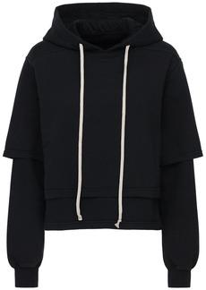 Rick Owens Cropped Cotton Jersey Sweatshirt Hoodie