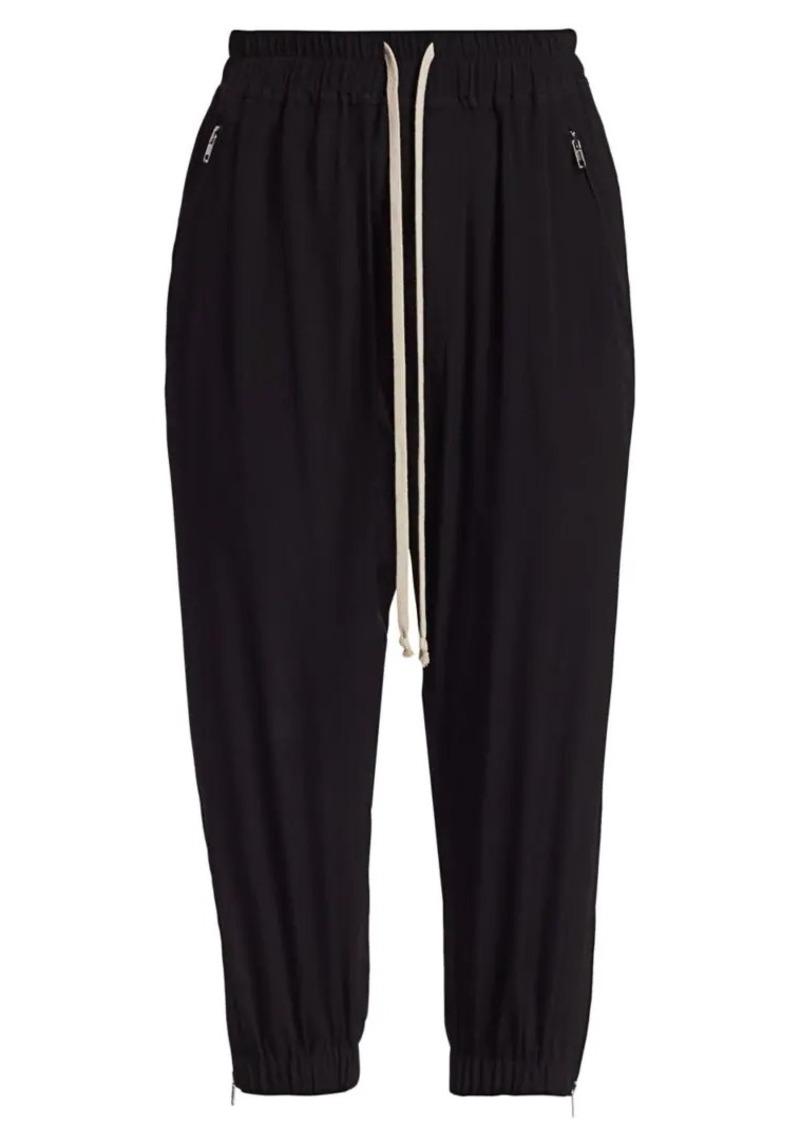 Rick Owens Cropped Stretch-Silk Track Pants