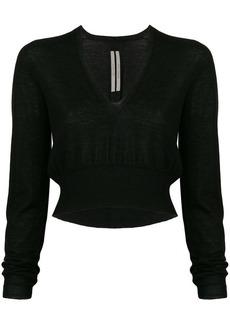 Rick Owens deep V-neck cropped sweater