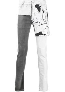 Rick Owens denim patchwork skinny jeans
