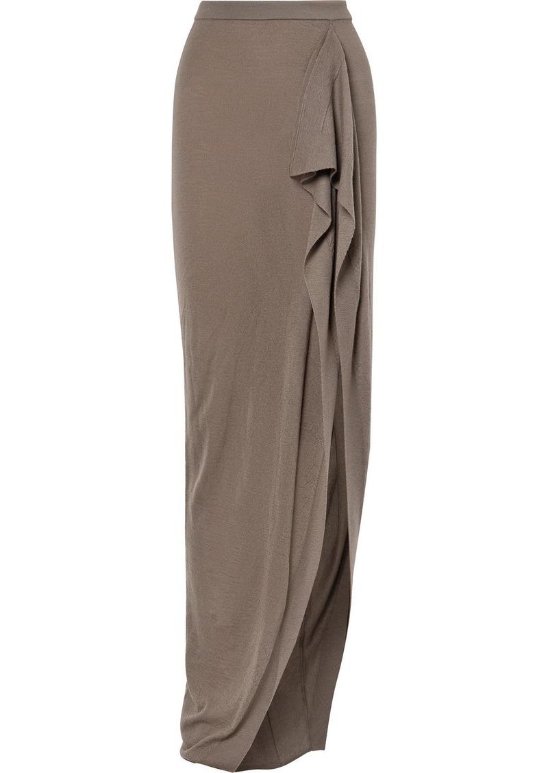 Rick Owens Draped Cashmere Maxi Skirt