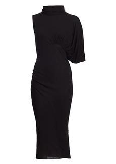 Rick Owens Draped One-Sleeve Midi Dress