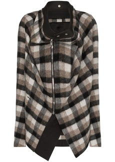 Rick Owens draped plaid jacket
