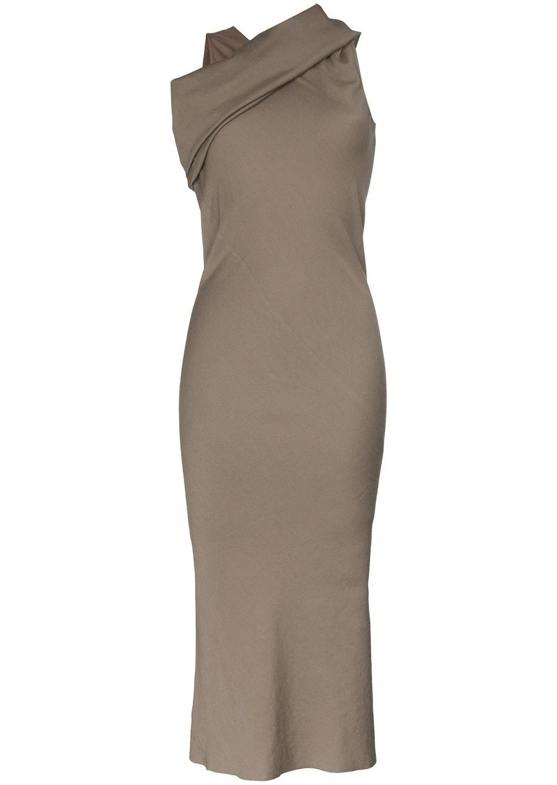 Rick Owens draped shoulder midi-dress