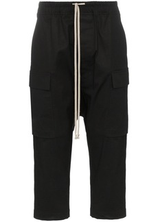 Rick Owens drawstring cropped cotton blend cargo trousers