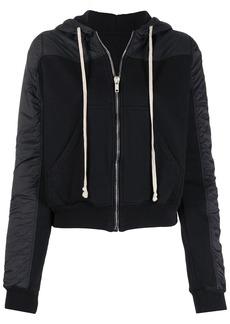 Rick Owens drawstring zip hoodie with contrasting textures