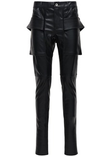 Rick Owens Faux Leather Skinny Pants W/ Tab Detail