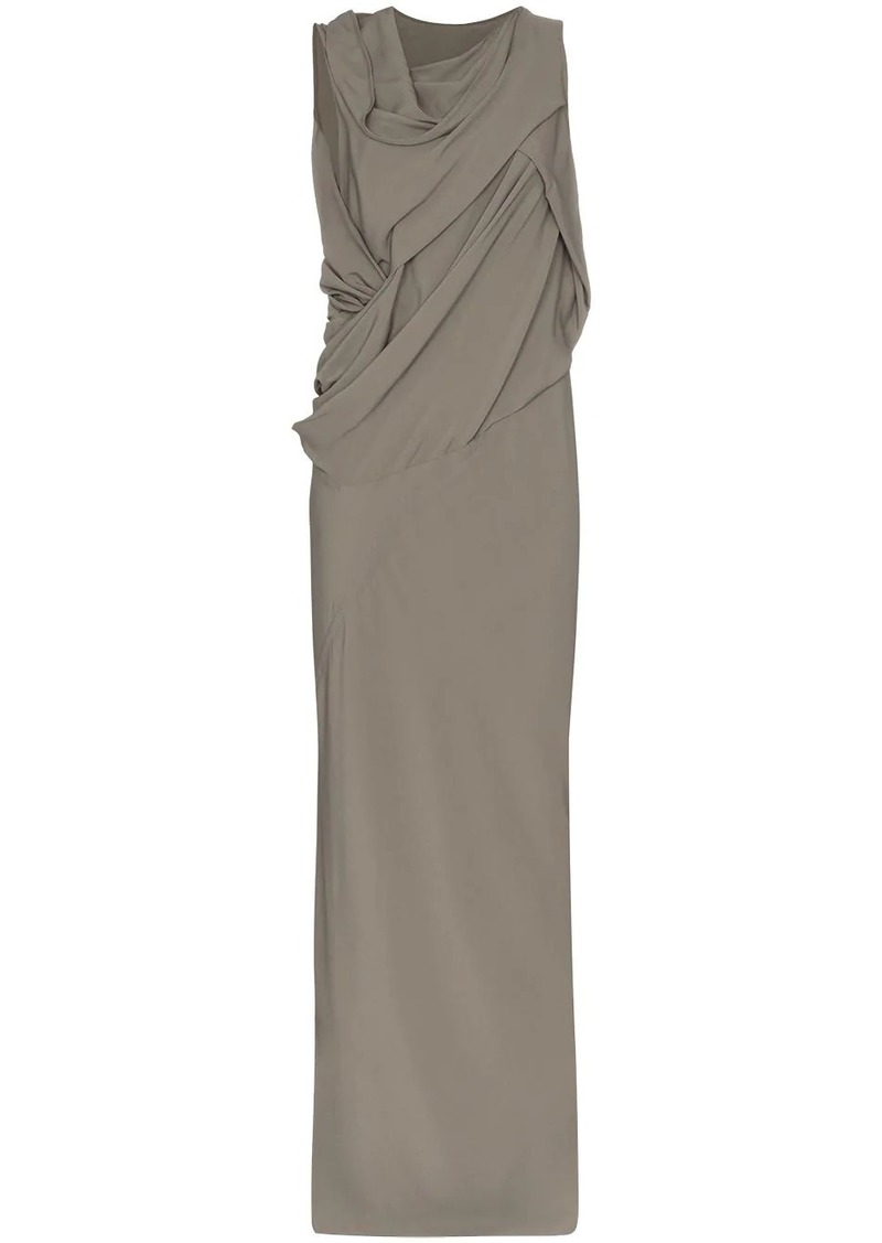 Rick Owens gathered cowl-neck evening gown