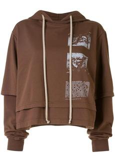 Rick Owens graphic-print cropped hoodie