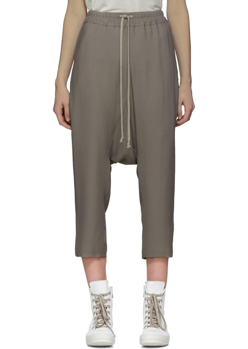 Rick Owens Grey Crêpe Cropped Lounge Pants
