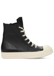 Rick Owens High Top Leather Sneakers