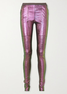 Rick Owens Iridescent Stretch Leather And Cotton-blend Leggings