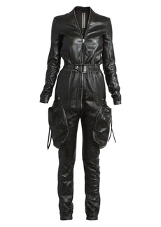 Rick Owens Jumbo Stretch-Leather Cargo Jumpsuit