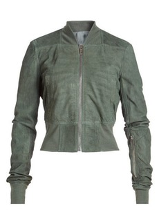 Rick Owens Leather Bomber Jacket with Virgin Wool