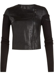 Rick Owens Leather Jacket with Cotton Sleeves