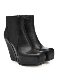 Rick Owens Leather Platform Wedge Boots