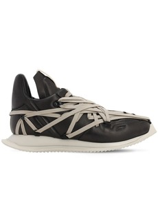 Rick Owens Leather Runner Sneakers W/ Laces