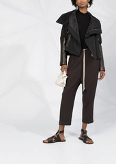 Rick Owens leather sleeve zipped jacket
