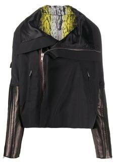 Rick Owens leather sleeve zipped jacket