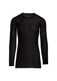 Rick Owens Long-Sleeve Ribbed Stretch Silk T-Shirt