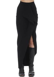 Rick Owens Long Stretch Viscose Blend Knit Skirt