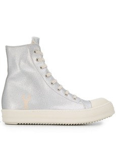 Rick Owens metallic hi-top trainers