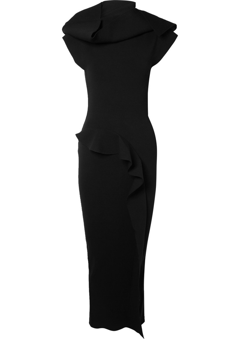 Rick Owens Nona Open-back Ruffled Stretch-jersey Maxi Dress