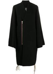 Rick Owens off-centre zipped V-neck coat
