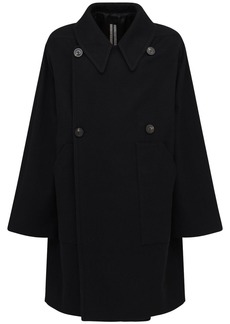 Rick Owens Over Cotton & Wool Double Breast Coat