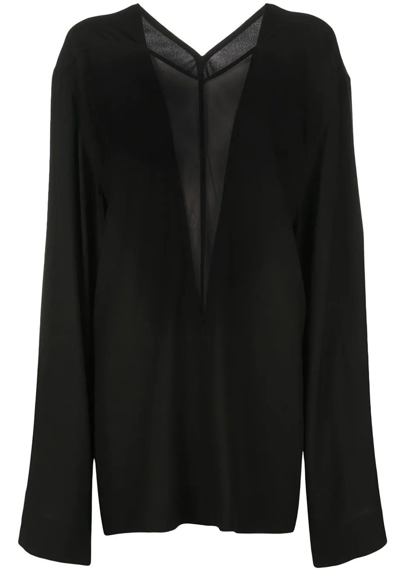 Rick Owens oversized sheer panel blouse