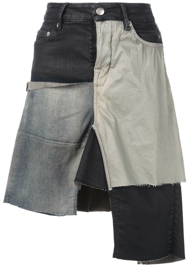 Rick Owens patchwork asymmetric skirt
