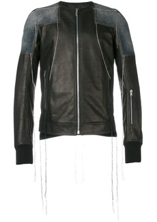 Rick Owens patchwork collarless leather jacket