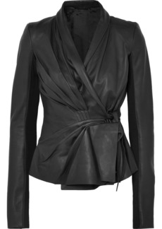 Rick Owens Pleated Leather Wrap Jacket